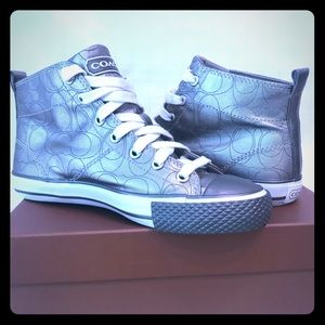 Coach Franca High Top Sneaker in Silver/Gray Sz 7